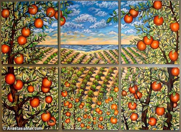 Orange Groves mural by Anastasia Mak