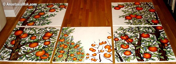 Orange Groves mural progress 1