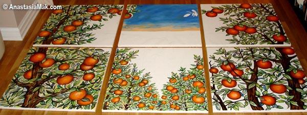 Orange Groved mural progress 2