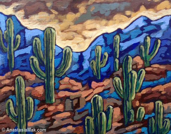 cactus painting by anastasia mak
