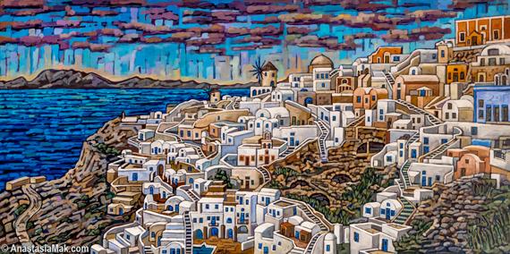Santorini painting by Anastasia Mak