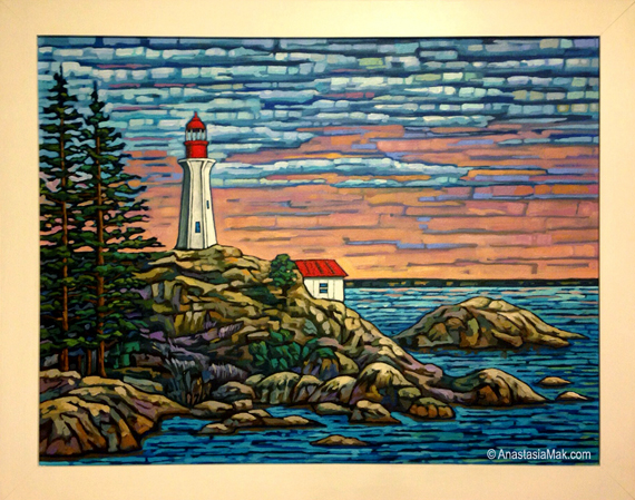 Point Atkinson Lighthouse painting by Anastasia Mak